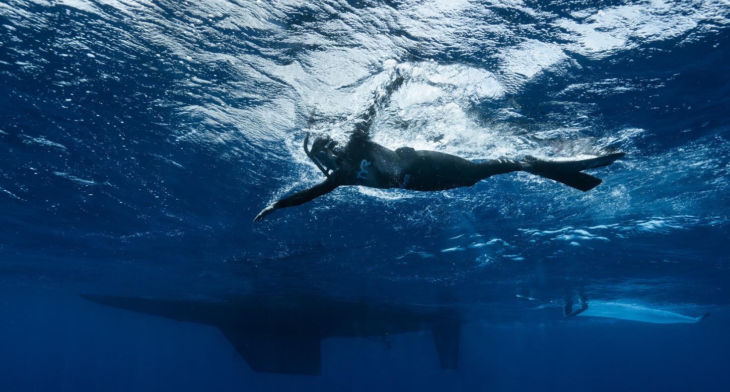 Ben Lecomte sous l'eau